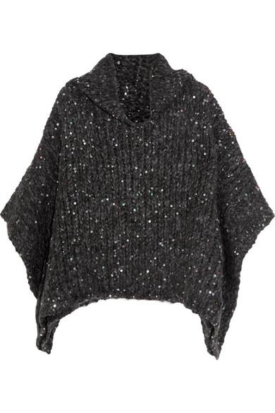 Brunello Cucinelli - Sequined Alpaca-blend Turtleneck Sweater - Dark gray