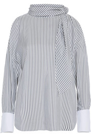 Cold-shoulder striped silk top