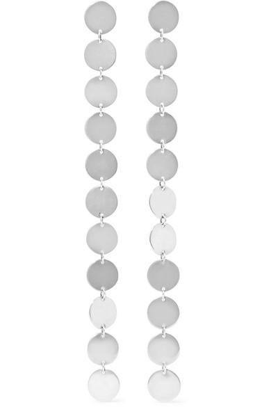 Silver Drop Earrings with Discs