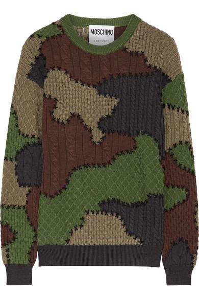 Moschino - Patchwork-intarsia Wool Sweater - Army green