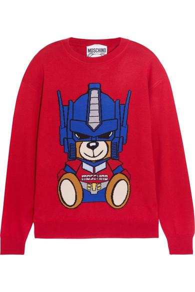 Moschino - Intarsia Wool Sweater - Red