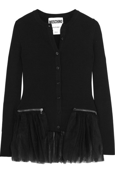 Moschino - Tulle-trimmed Ribbed Wool Cardigan - Black