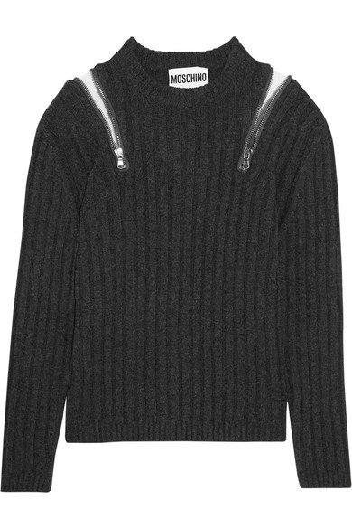 Moschino - Zip-embellished Ribbed-knit Sweater - Charcoal