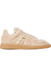 Maison Margiela Shearling-lined suede sneakers