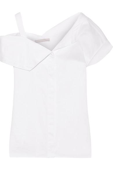 Jason Wu - Asymmetric Cotton-poplin Top - White