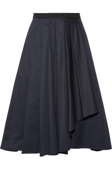 Jason Wu - Asymmetric Pleated Cotton-poplin Skirt - Midnight blue