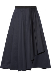 Asymmetric pleated cotton-poplin skirt