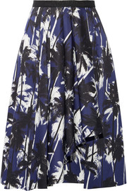 Grosgrain-trimmed printed cotton-poplin skirt