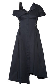 Jason Wu Lace-up asymmetric cotton-poplin dress