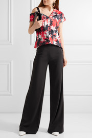 Jason Wu Asymmetric printed cotton-poplin top