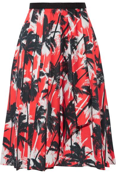 Jason Wu - Grosgrain-trimmed Printed Cotton-poplin Skirt - Coral