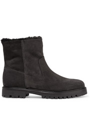 Frances shearling-lined suede ankle boots