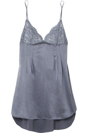 Isabel Floating lace-paneled silk-blend satin chemise
