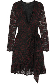 Flynn lace wrap mini dress