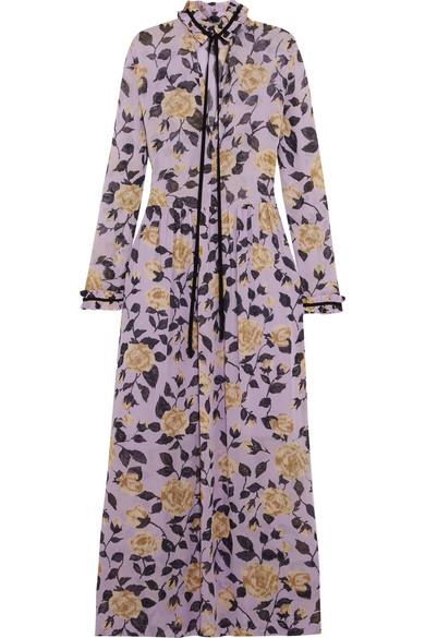GANNI - Carlton Pussy-bow Floral-print Georgette Maxi Dress - Lilac