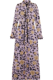 Carlton pussy-bow floral-print georgette maxi dress