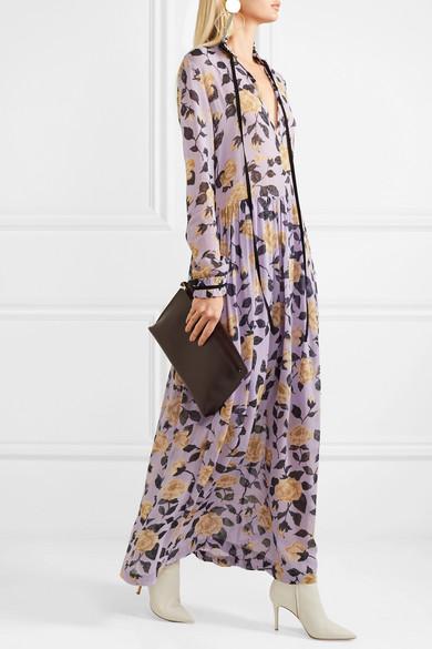 e397c7cf GANNI | Carlton pussy-bow floral-print georgette maxi dress | NET-A ...