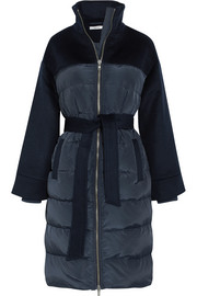 Fountain quilted shell and wool-felt coat