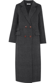 Driggs checked wool-blend coat