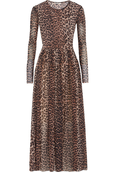 GANNI - Tilden Leopard-print Stretch-mesh Maxi Dress - Leopard print