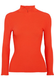 GANNI Romilly crochet-trimmed ribbed-knit top
