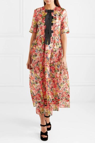e70f5206 GANNI | Seneca embellished floral-print silk-organza midi dress ...