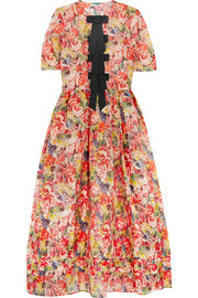 Seneca embellished floral-print silk-organza maxi dress