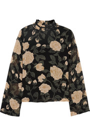 Carlton floral-print georgette turtleneck top