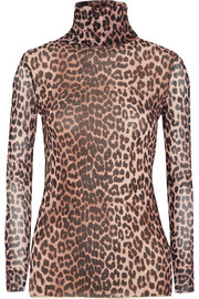 Tilden leopard-print mesh turtleneck top