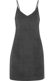 Woodside checked wool-blend mini dress