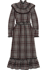 GANNI Charron checked cotton-blend seersucker midi dress