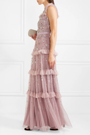 Twilight ruffled embellished tulle gown