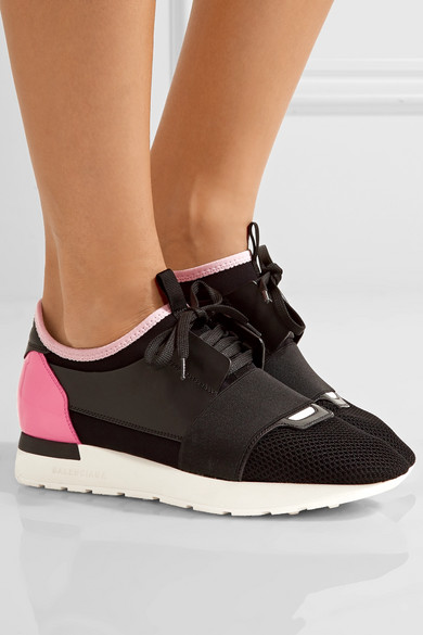 finest selection 6e33e 2356f Race Runner leather, mesh and neoprene sneakers