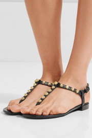 Studded glossed textured-leather sandals
