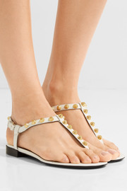 Studded glossed-leather sandals