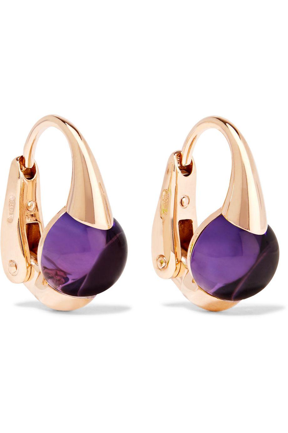 Pomellato M'ama Non M'ama 18-karat rose gold amethyst earrings