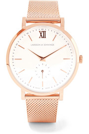 Lugano II rose gold-plated watch