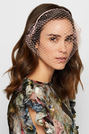 Swarovski crystal-embellished veiled headband