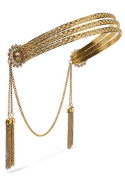 Jennifer Behr Florentine tasseled gold-plated headband