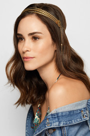 Florentine tasseled gold-plated headband