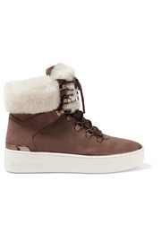Kyle shearling-trimmed suede ankle boots