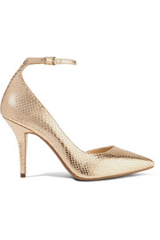 MICHAEL Michael Kors Abbi metallic snake-effect leather pumps