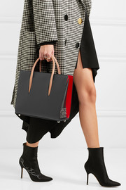 Christian Louboutin Paloma medium spiked textured and patent-leather tote