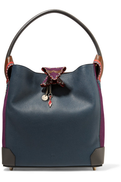 f53aa46cacb Christian Louboutin. Eloise suede-paneled textured-leather shoulder bag