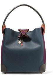 Christian Louboutin Eloise suede-paneled textured-leather shoulder bag
