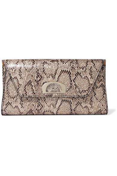 online store 543b9 ca7f1 Vero Dodat metallic snake-effect leather clutch
