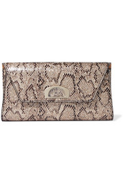 Vero Dodat metallic snake-effect leather clutch