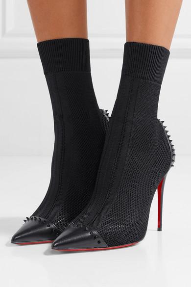 brand new 09d6b 3fc77 Dovi Dova 100 studded leather-trimmed stretch-knit sock boots