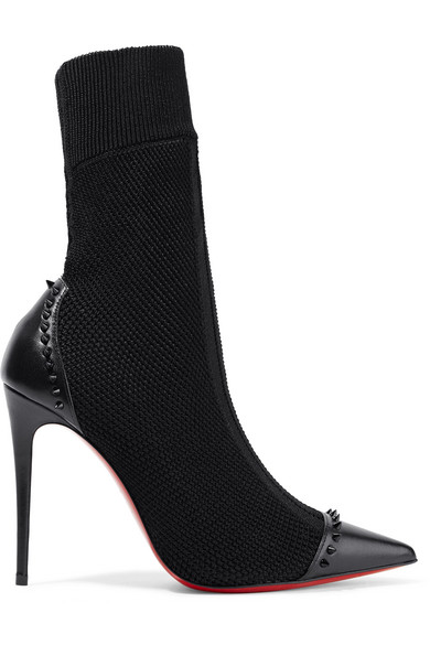 Black Sock Boots with Studs and high heel
