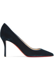 Christian Louboutin Decoltish 85 grosgrain-trimmed velvet pumps